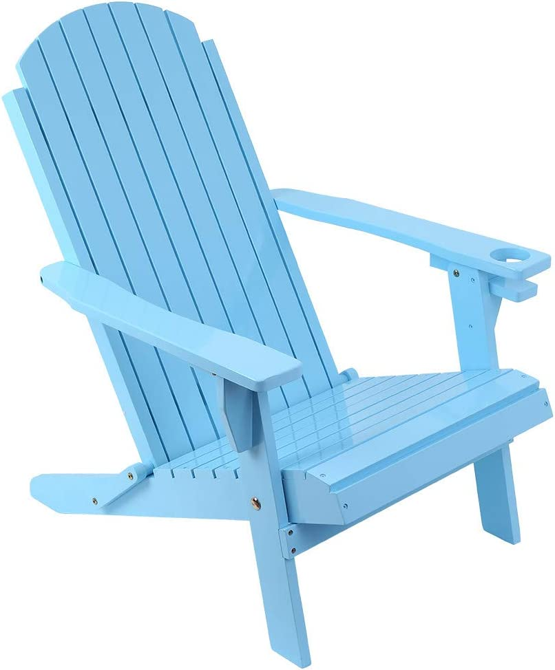 Adirondack Chair Blue Backyard /& Lawn Furniture Classic Folding and Reclining Adirondack Chair with Adjustable Backrest and Tea Cup Groove for Outdoor Patio Deck Garden