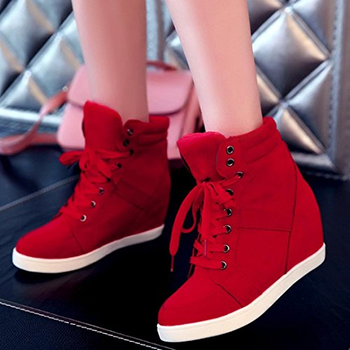 Ankle Women's Round Autumn Hidden SUKEQ Sneaker Lace Booties Boots Toe Red Heel Top Up Fashion Wedge Winter High Sqdw1CO