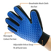 Pet Grooming Glove, Pet Deshedding Glove Brush for Dog & Cat with Long & Shortt Hair Gentle and Efficient Pet Hair Remover Mitt with Rubber Tips for Massage Tool by flinelife Your Pet Will Love It