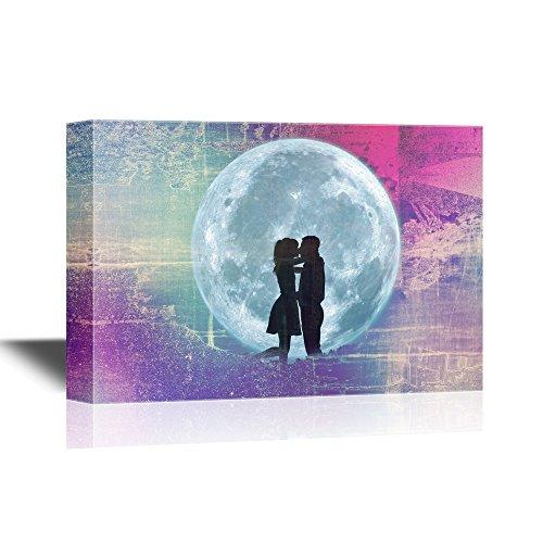 Romantic Lovers under the Full Moon