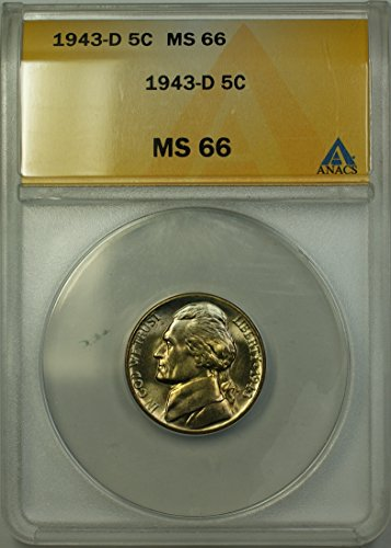 1943 D Jefferson Wartime Silver 5c Coin (RL-A) Light Toning Nickel MS-66 ANACS
