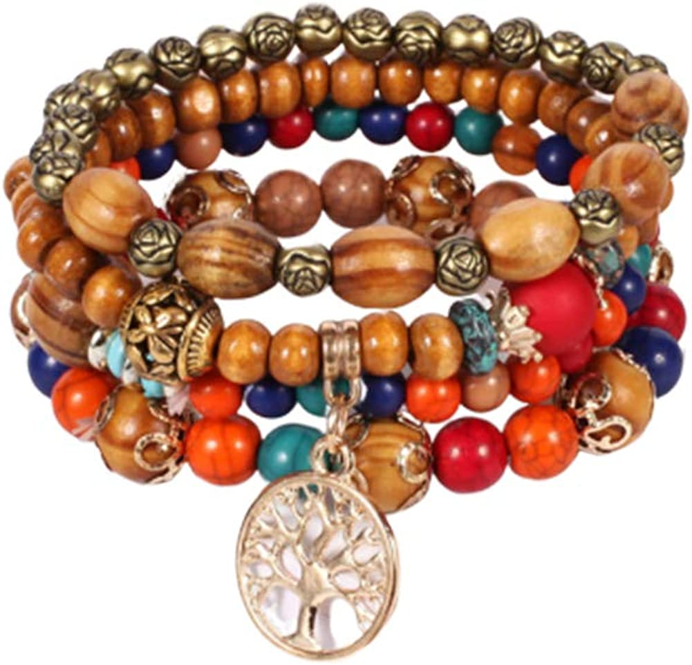 Aineecy Multi-Layer Wood Beads Bracelet Set Bohemian Colourful Wooden Turquoise Grain Ball Chain Tree of Life Bracelet Bangle for Girls Women 4Set//pcs