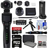 REMOVU K1 4K Video Camera with Integrated 3-Axis Gimbal Stabilizer & Battery, Microphone, Charging Cradle, Lens Cover + 128GB Card + Case + Tripod Kit