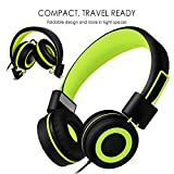 Kids Headphones for school – SIMILK Foldable Stereo Tangle-Free 3.5mm Jack Wired Cord On-Ear Headset for Children 8-15 years old (Black/Green)