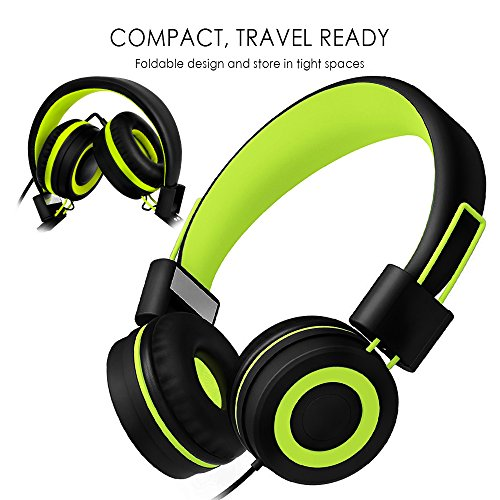 SIMILK Kids Headphones for school Stereo Tangle-Free 3.5mm Jack Wired Cord On-Ear Headset for Children 8-15 years old (Black/Green)