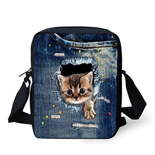 Bolso 18x6x23cm 1 Viaje con JAGENIE de pequeño para Hombre de Mano de Estampado Bolso Hombro Bolso Bolso Mano Lona Mujer Animales y de de 9 qpS0g