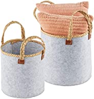 mDesign Round Felt Basket and Attached Braided Handles - Portable and Foldable for Compact Storage, Set of 2 -