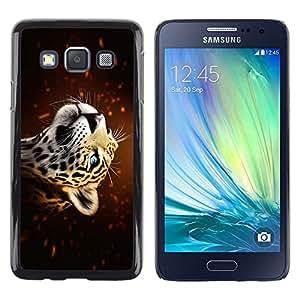 Be Good Phone Accessory // Dura Cáscara cubierta Protectora Caso Carcasa Funda de Protección para Samsung Galaxy A3 SM-A300 // Leopard Portrait Blue Eyes Big Cat Cosmos