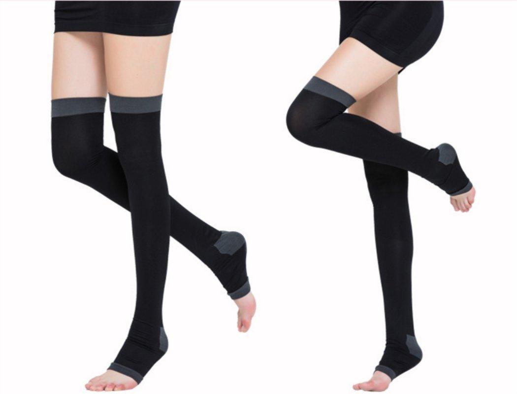 c1e90045427 Amazon.com  Women Girls Veins Compression Stockings Burn Fat Thin Sleeping Over  Knee Stockings Leg Slimming Legging Black  Sports   Outdoors