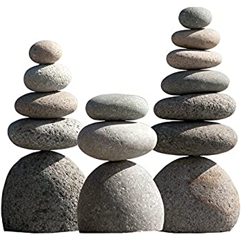 Natural River Rock Cairn Stone Stacked Zen Garden Decoration Stone Set of 3