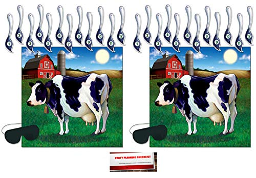 2 Pack Pin The Tail On The Cow Game 17¼ x 19 Inches - 2 Masks & 24 Tails included (Plus Party Planning Checklist by Mikes Super -