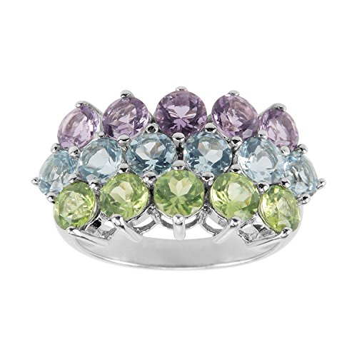 AURA BY TJM 925 SS RING SET WITH FACET CUT MULTI GEMSTONES (1.31 CT AMY, 2.98 CT BL TOPAZ & 1.42 CT PERIDOT)