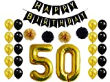 50th Birthday Party Decorations,Happy Birthday Banner,50th Gold Number ...