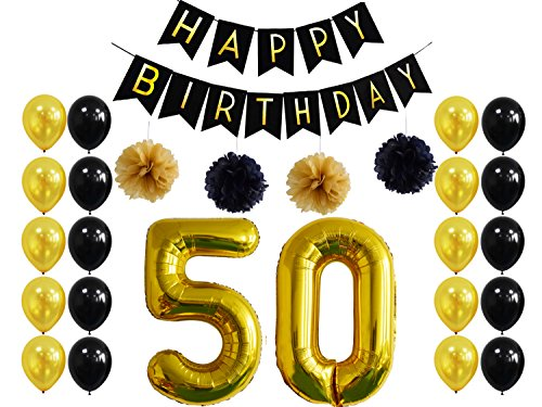 50th Birthday Party Decorations,Happy Birthday Banner,50th Gold Number Balloons For 50 Years Old Gold Party Supplies