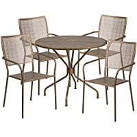 Flash Furniture 35.25 Round Gold Indoor-Outdoor Steel Patio Table Set with 4 Square Back Chairs