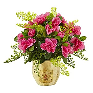 Artificial Flowers -Azalea and Maiden Hair with Planter Arrangement Artificial Plant 30