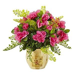 Artificial Flowers -Azalea and Maiden Hair with Planter Arrangement Artificial Plant 86
