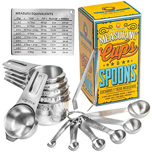 Wow Four Design Measuring Cups and Spoons Set of 6 Measuring Cups and 6 Measuring Spoons Bonus Measuring Magnetic Chart and a Fish Bone Tweezer 12 Piece Stackable Set Stainless ()