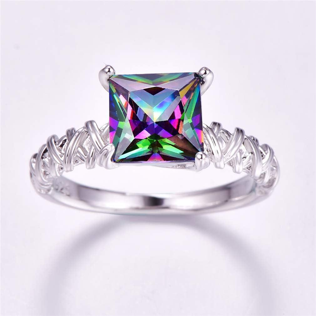 Honghu 925 Sterling Silver Princess Cut Cubic Zirconia Jewelry Wedding Promise Ring