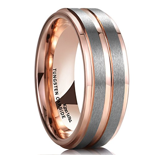 King Will Duo 8mm Unisex Rose Gold Tungsten Carbide Wedding Band Ring Grooved Center High Polish Comfort Fit