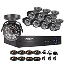 TMEZON 8 Channel 1080P Home Security Systems ,1080N AHD DVR w/ 8 2.0-Megapixel IR Night Vision Indoor/Outdoor Weatherproof Surveillance CCTV Security Cameras NO HDD