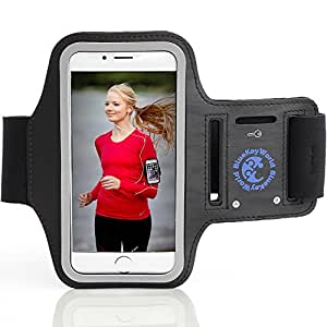 Premium iPhone 6/6s PLUS Armband - For Running and All Sports - Lightweight, Key Holder, Headphone Ports - From Blue Key World