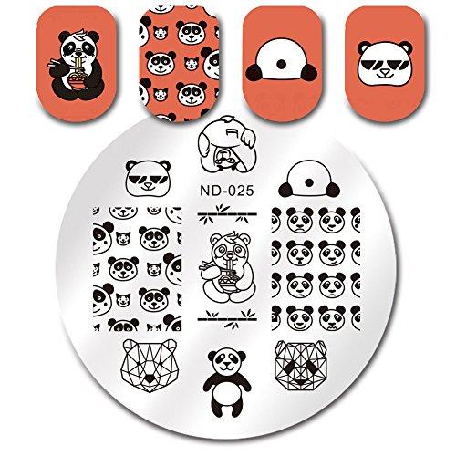 NICOLE DIARY 1Pc Nail Stamping Plate Cute Panda Sunglasses Manicure Nail Art Image Plate Manicure Template Nail Art Tools - Caption Sunglasses