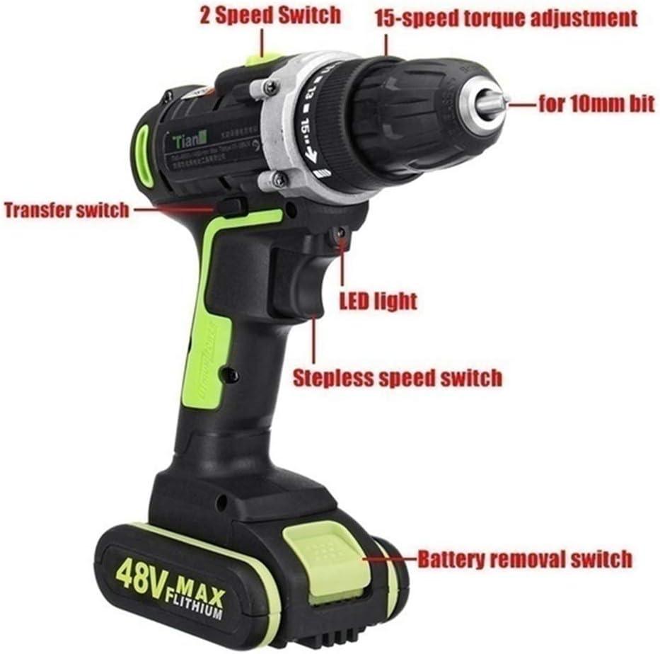 Taladro atornillador inal/ámbrico de 2 velocidades par de apriete 32 N.m Max con LED Xingkee taladro el/éctrico accesorios profesionales para bricolaje