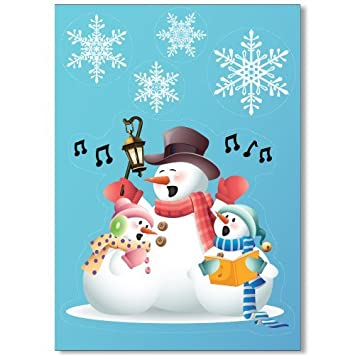 Singing Snowmen Window Cling With  Elegant Snowflake Window - Snowflake window stickers amazon