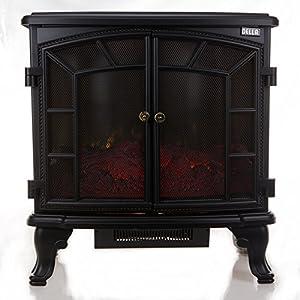 della 1500w vintage black electric stove heater fireplace 27 inch freestanding. Black Bedroom Furniture Sets. Home Design Ideas