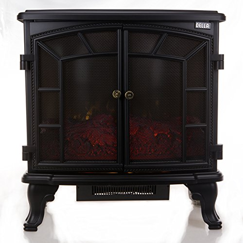 Della 1500W Vintage Black Electric Stove Heater Fireplace - 27 Inch Electric Range