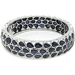 De Buman Sterling Silver Natural Sapphire Bangle Bracelet, 8.5 Inches