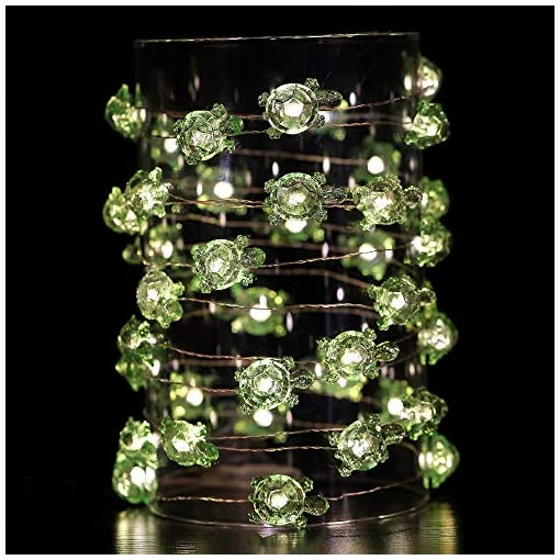 Beach Themed Christmas Ornaments HDNICEZM Turtle Decorative String Lights 14.1 Ft 40 LED Weatherproof Battery Operated 8 Modes Turtle Fairy Lights for… beach themed christmas ornaments