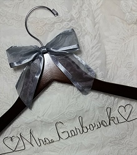 Bride Dress Hanger - Personalized - Silver Wire Craft Name - Dark Wood Hanger