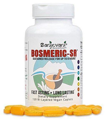 Bosmeric SR Turmeric Curcumin with Curcumin C3 Complex, BioPerine Black Pepper Extract for High Absorption and Boswellia for Extended Release Soy Gluten Free All Natural, Non GMO – 120 Caplet