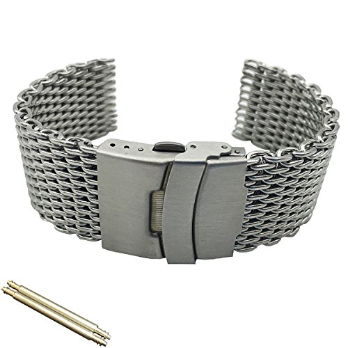 20 22 24mm Silver Diving Thick Milanese Replaceable Watch Band Fit Seiko Citizen Casio IWC(22) ()