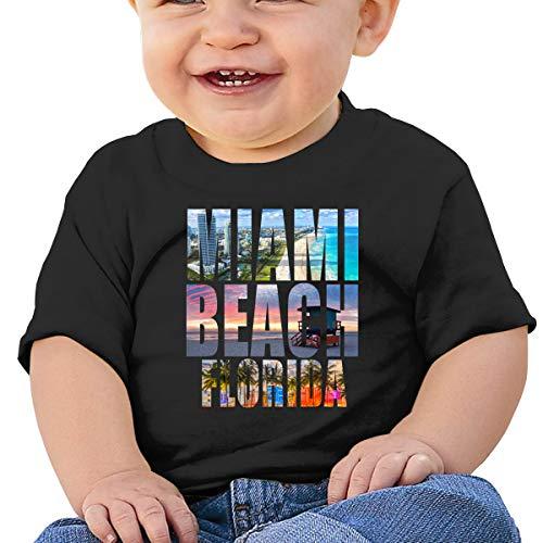 LUCIFA BAY Retro Miami Beach Florida City Children's T Shirt Baby Boys Girls Tee Infant Toddler T-Shirt Black