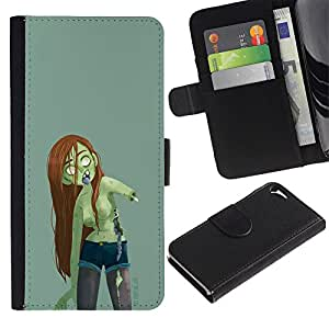 Graphic Case / Wallet Funda Cuero - Zombie Green Girl Woman Long Brown Hair - Apple iPhone 5 / 5S
