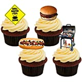 BBQ / Barbecue, Fun Edible Cupcake Toppers - Stand-up Wafer Cake Decorations by Made4You