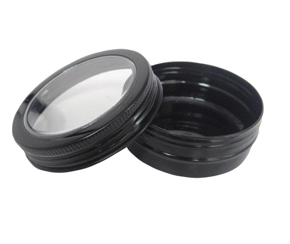 12PCS 60ml Round Black Window Aluminium Tin Cans Containers Nail Art Lip Balm Makeup Storage Jar Bottle DIY Cream Cosmetic Bottles Pot Beauty Products Sample Case Box Holder