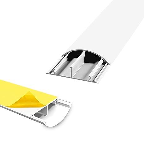 2m Kabelkanal Halbrund 50x12mm Grau PVC Flach Kabelleiste Fussboden Wand Kanal