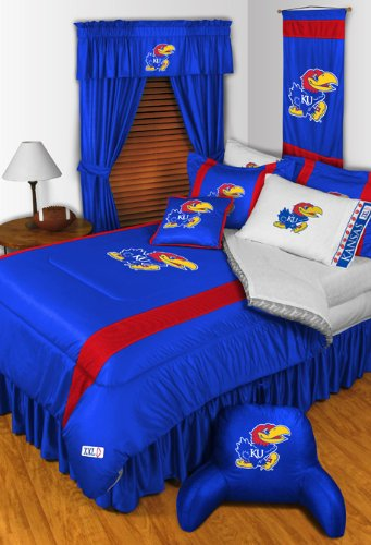 Kansas Jayhawks 4 Pc FULL Comforter Set (Comforter, 2 Shams, 1 Bedskirt) SAVE BIG ON BUNDLING!