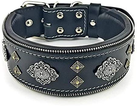 "Large breeds 2.5 inch wide Bestia /""Maximus/"" genuine leather dog collar /& leash"