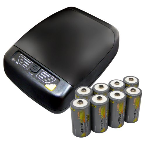 Hitech - Smart 4-Bank Charger For AA, AAA, C, D Size Batteries - Includes 8 Ni-MH C Batteries