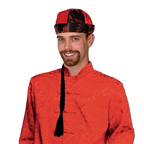 Pack of 12 Silky Red and Black Mandarin Novelty Hat with Braid (Mandarin Hat With Braid)