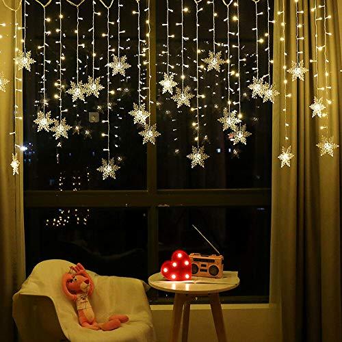 Cortina De Luces,Luces Decorativas Habitacion,Guirnalda Luces Con 8 Modos Parpadeantes,96 Led Forma De Copo,Ip44 Impermeable,Para Exterior E Interior, Navidad Fiestas Boda