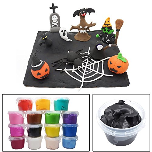 OVI Colorful Modeling Clay & Dough Clay Air Dry Ultra Light Molding Magic Clay,DIY Halloween decorations Gift Toy,Black