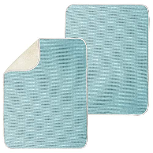 mDesign Ultra Absorbent Reversible Microfiber Dish Drying Mat and Protector for Kitchen Countertops, Sinks - Folds for Compact Storage - Extra Large, 2 Pack - Aqua Blue/Ivory (Aqua Washer And Dryer)
