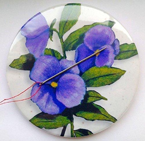 Magnetic Pin Cushion, Needle Minder, 3.5, Purple Pansies, From Original Artwork 3.5
