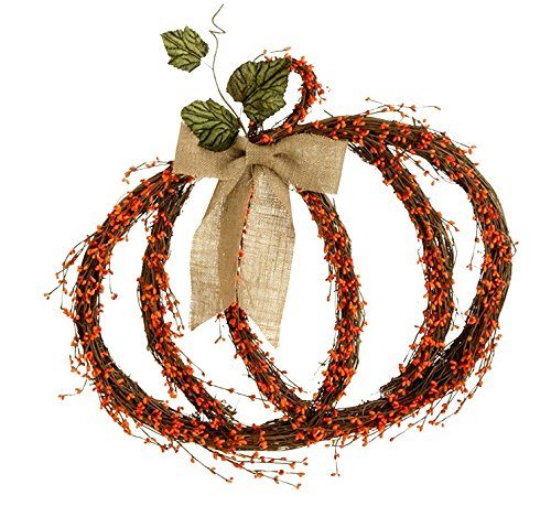Fall or Thanksgiving Pumpkin-Shaped Wreath with Berries & Bow , 22 Inches